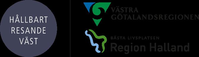 Logotyper för Hållbart Resande Väst, Västra Götalandsregionen och Region Halland